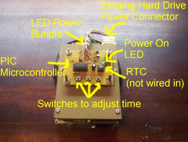 hard drive clock alan parekh s electronic projects this diagram shows the various component placements on the clock control board the real time clock was going to keep track of time however it was found that